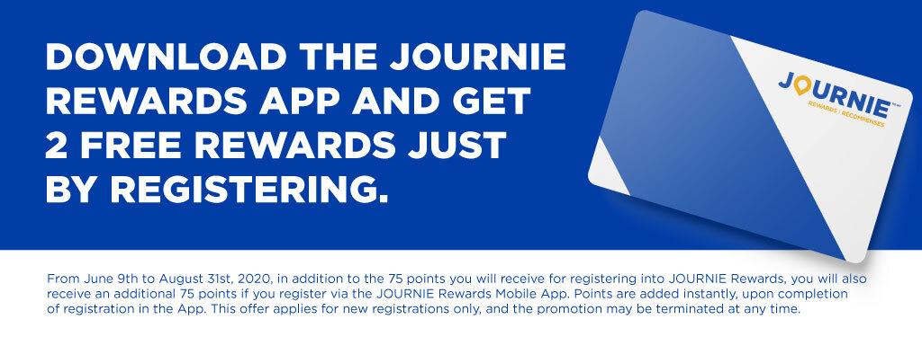Download the JOURNIE Rewards App and get 2 free rewards just by registering